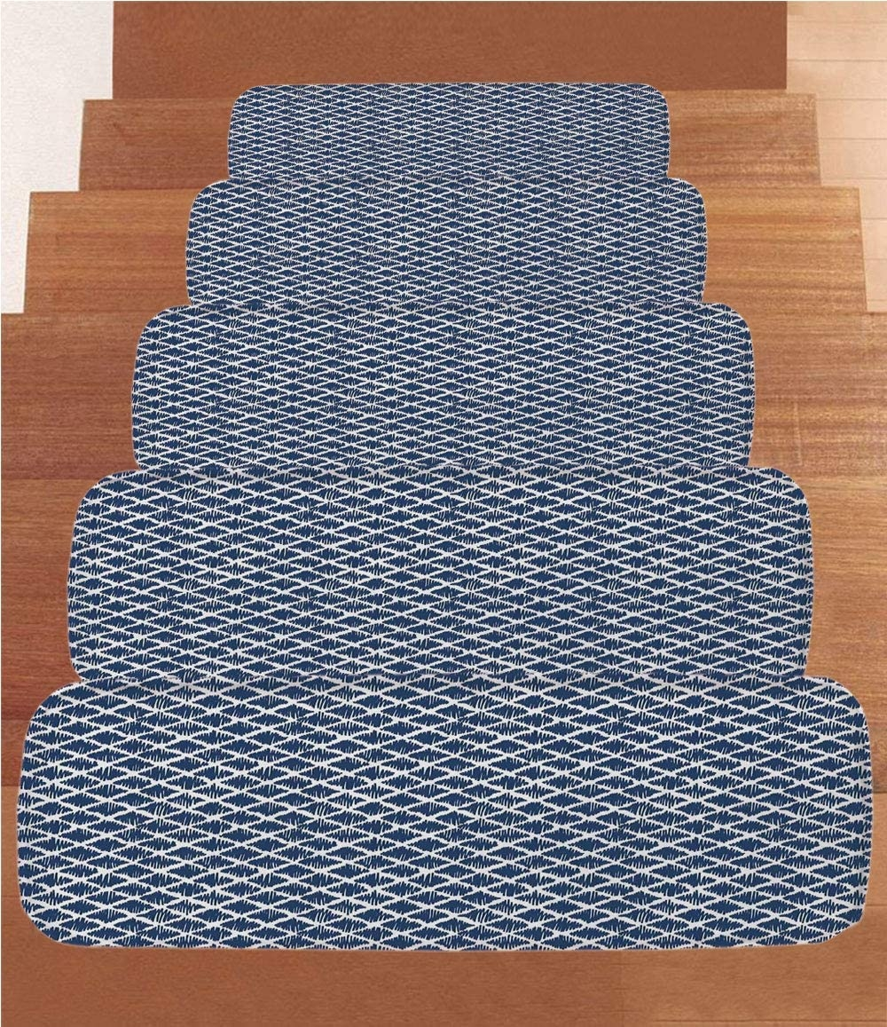 Amazon Com Sosung Indigo Coral Fleece Stair Treads Stair Tread | Zig Zag Carpet On Stairs | American Style | Asymmetric Stair | Before And After | Navy Pattern | Grey