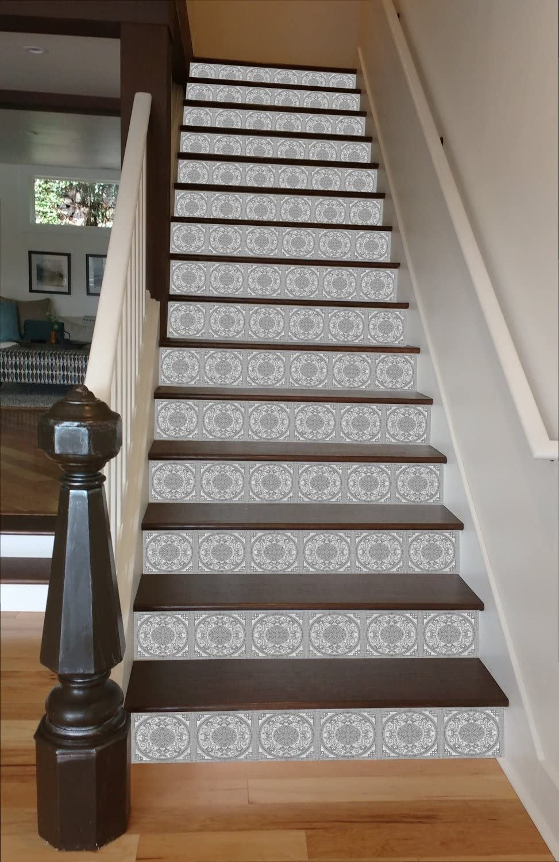 Amazon Com Riserart Grey Mosaic Tile 37 X 13 Painted Stairway | Floor Tiles Design For Stairs | Hallway Floor Tile | Stair Landing | House | Stair Riser | Wall