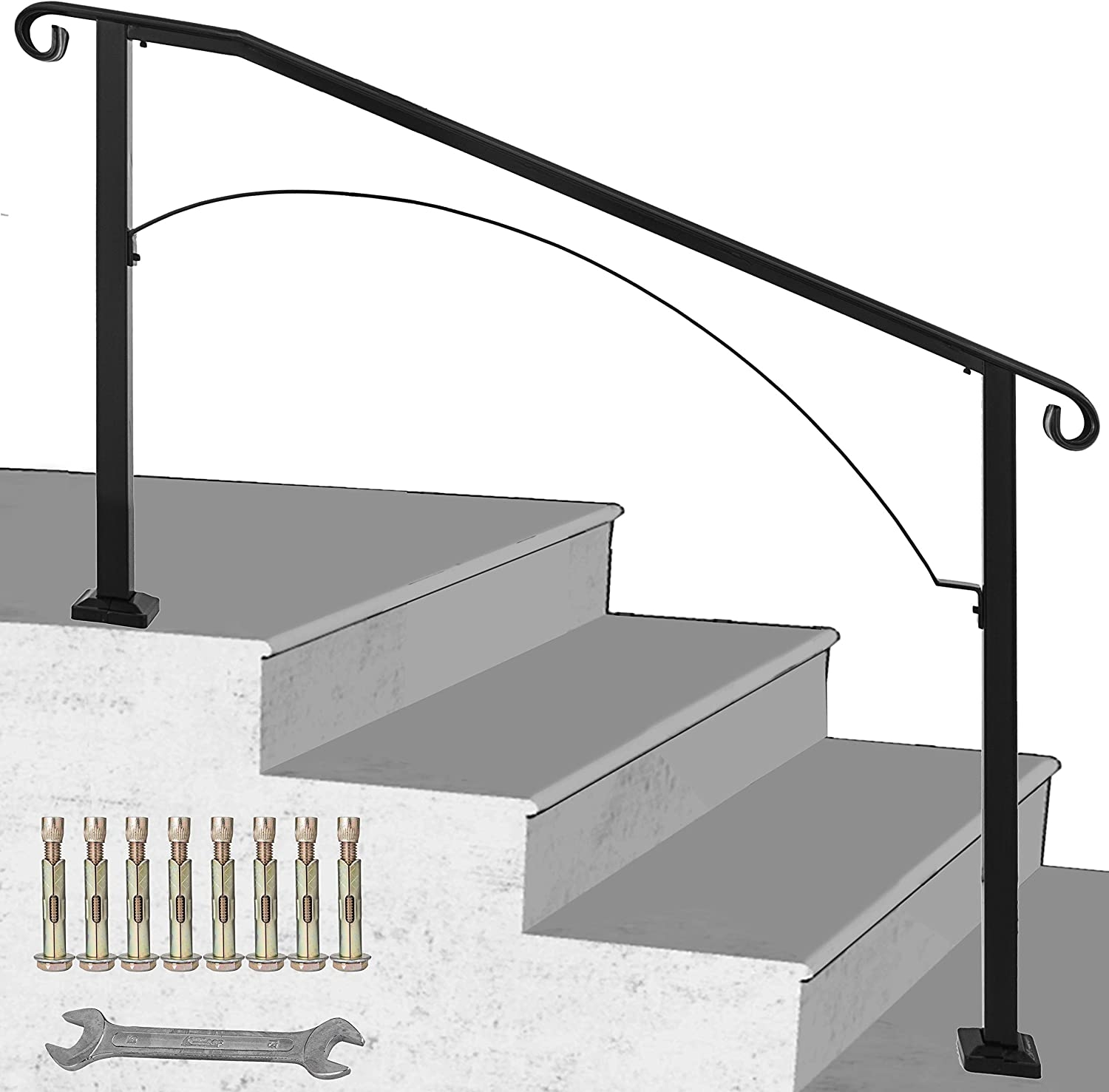 Happybuy Handrail Arch 3 Fits 3 Or 4 Steps Matte Black Stair Rail   Installing Wrought Iron Railings On Stairs   Railing Kits   Concrete Steps   Iron Balusters   Outdoor Stair   Stair Spindles