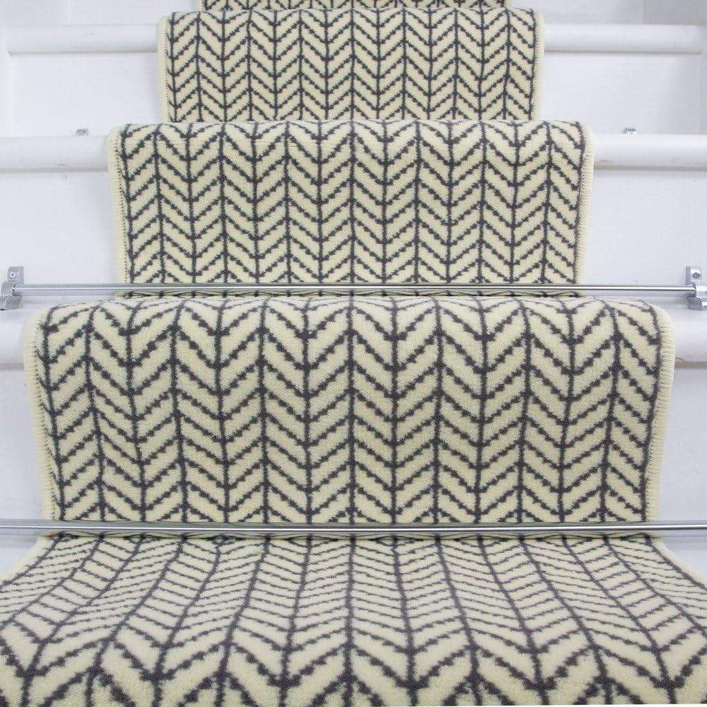 The Rug House Lima Cream Herringbone Triangle Design Stair Carpet | Grey Herringbone Carpet Stairs | Antelope | Victorian | Middle Stair | Roger Oates | Blue