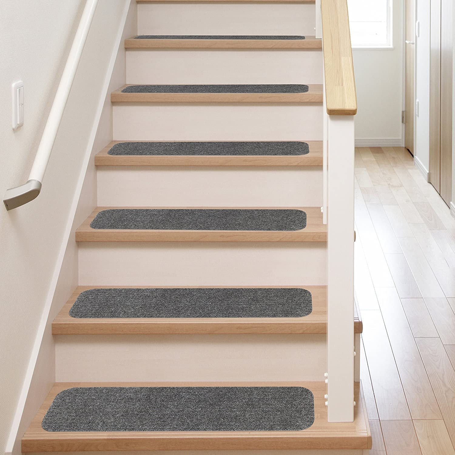 13 Stair Treads Non Slip Carpet Pads Easy Tape Installation | Carpet Treads For Wooden Stairs | Commercial Rubber | Rectangular Cord Treads | Carpet Wrapped | Self Adhesive | Different Style Stair