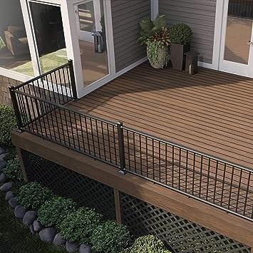 Deckorators Alx Classic Complete Aluminum Railing Kit With Estate | Black Aluminum Stair Railing | Interior | Classic | Simple | Square Metal | Pressure Treated Deck Black