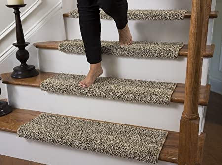 Amazon Com Caprice Bullnose Carpet Stair Tread With Adhesive   Plush Carpet Stair Treads   Dog Cat Pet   Iron Frost   Carpet Runners   True Bullnose Carpet   Bullnose