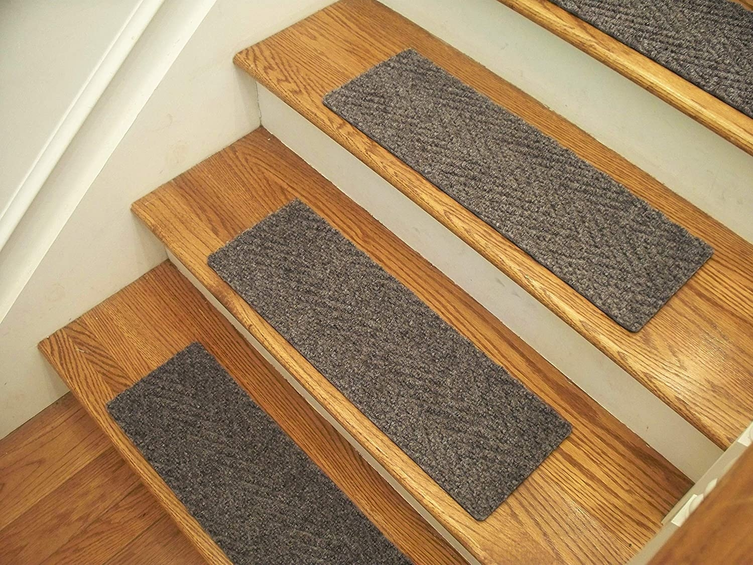 Essential Carpet Stair Treads Style Herringbone Color Beige | Herringbone Carpet For Stairs | High Traffic | Textured | Classical Design | Striped | Carpet Stair Treads