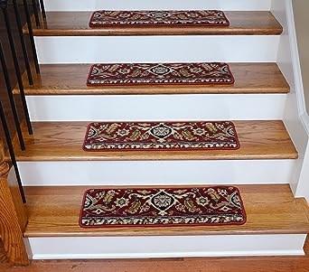 Premium Wool Carpet Stair Treads Burgundy Kashan 27 X 9 13 | Wool Carpet Stair Treads | Flooring | Zealand Wool | Beige Carpet | Cat Pet | Hardwood Stairs