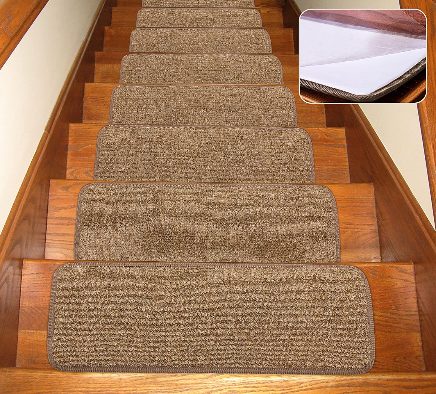 Seloom Stair Treads Carpet Non Slip With Skid Resistant Rubber | Individual Carpet Stair Treads | Bullnose Carpet | Wood | Hardwood | Flooring | Spiral Staircase