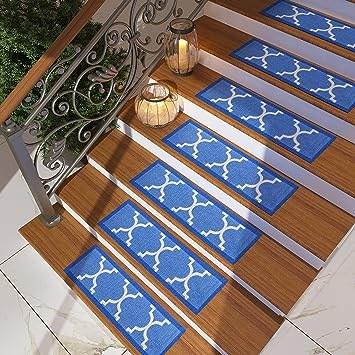 Set Of 7 Blue Stair Tread Rugs Modern Design Trellis Lattice   Carpet Stair Treads Amazon   Non Skid   Anti Slip   Beige   Skid Resistant   Tread Rugs