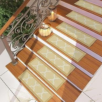 Amazon Com Set Of 7 Beige Stair Tread Rugs Modern Design | Nylon Carpet For Stairs | Berber Carpet | Non Slip | Tread Covers | Rug | Stairway