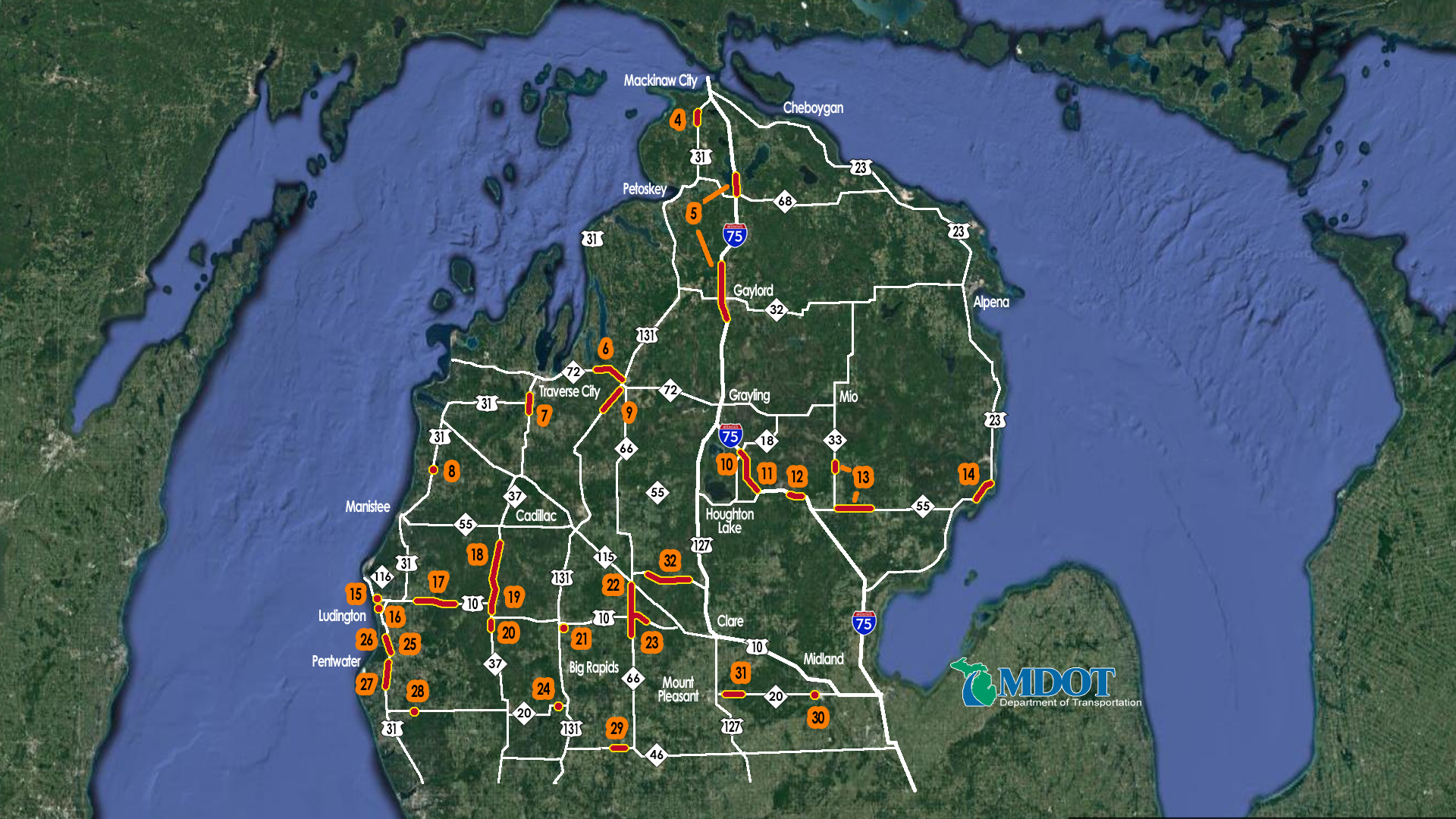 2018 Road Work Map   9   10 News Lower Peninsula