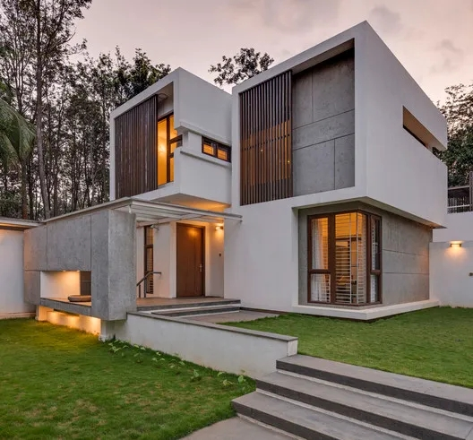 Farm House Shuonya Nava Designs Archdaily | Indian House Steps Design Outside | Middle Class | Home Front Sunside | Outside View | Wooden | Balcony