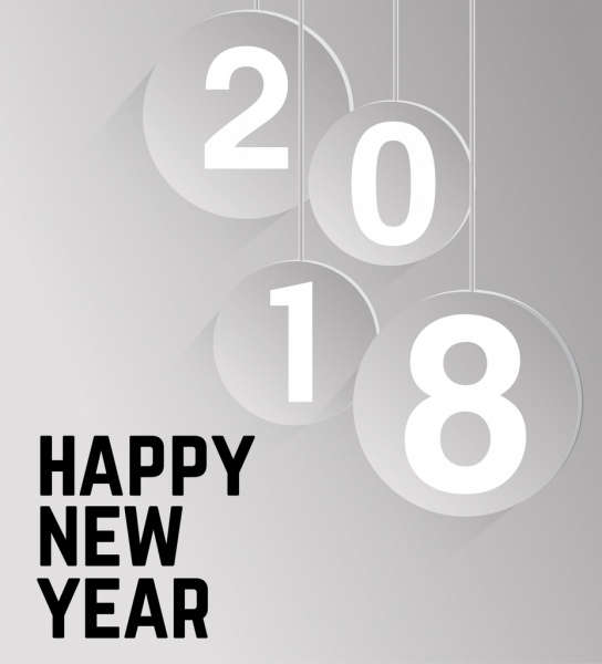 2018 new year poster hanging number icons decor Free vector in Adobe     2018 new year poster hanging number icons decor