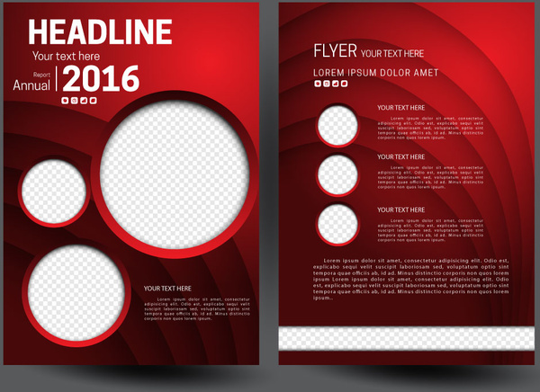 Annual report flyer template on 3d red background Free vector in     annual report flyer template on 3d red background