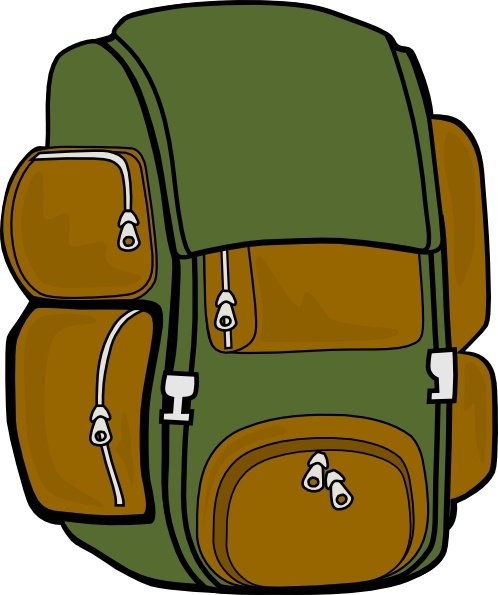 Backpack Green Brown clip art Free vector in Open office ...