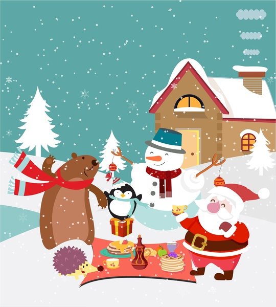 Christmas background design with cute animals and santa ...