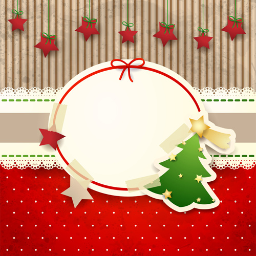 Cute christmas cards with frame vector set Free vector in ...
