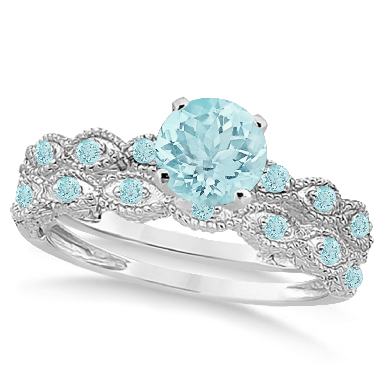 Vintage Aquamarine Engagement Ring Bridal Set 14k White Gold 1 36ct