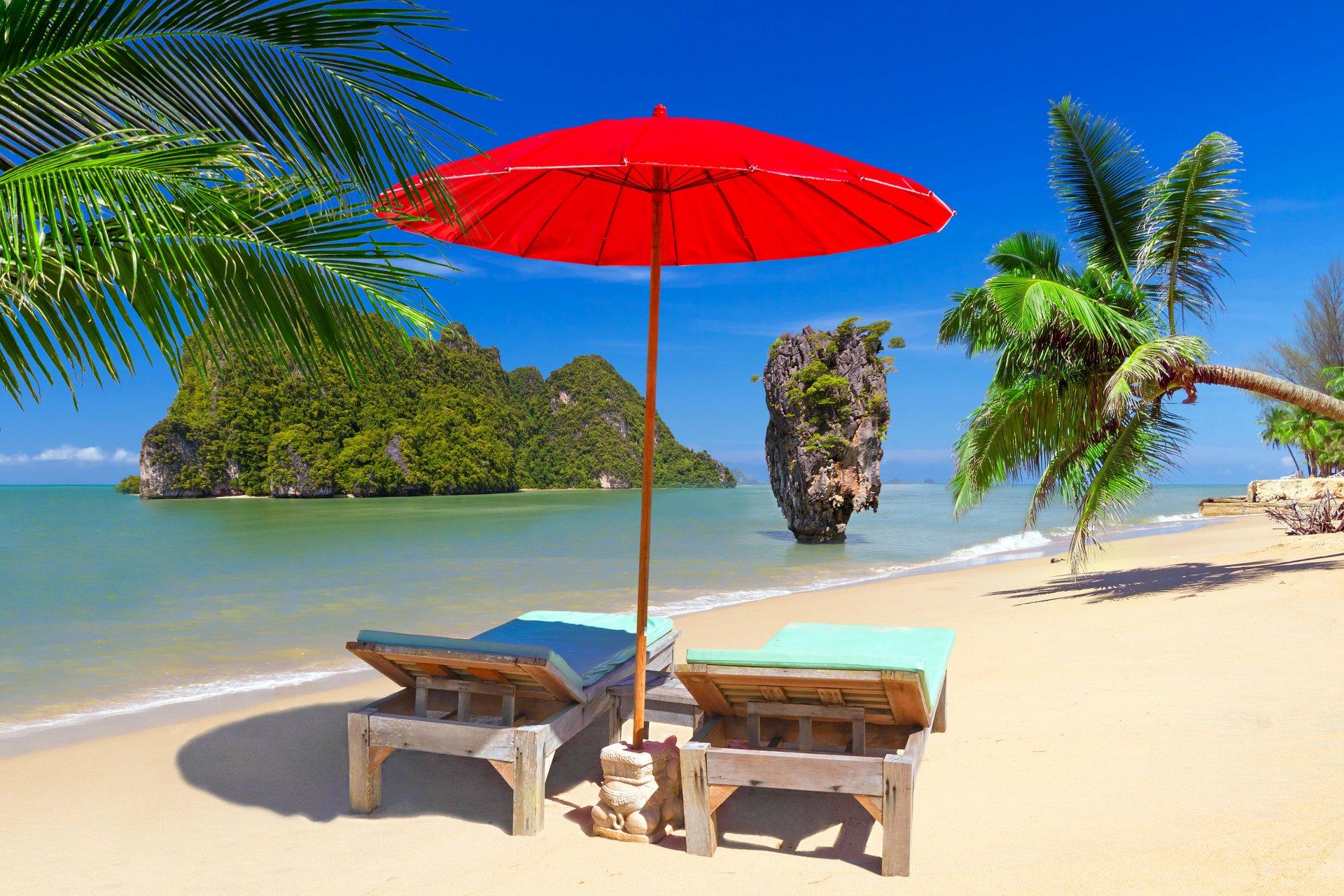 Beach Chairs And Umbrella On Thailand Beach 4k Ultra Hd