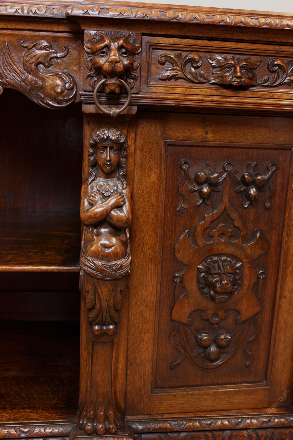Antique Carved Oak Sideboard Server Antiques Atlas