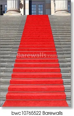 Red Carpet Stairs Success Art Print Barewalls Posters Prints | Stairs With Red Carpet | Event | Gold | Spiral Staircase | Traditional | White