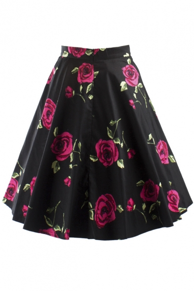 Women S Knee Length Flare Floral A Line Full Circle Skirt