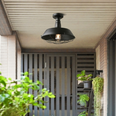 Wrought Iron Wire Cage Semi Flush Mount Light In Black For
