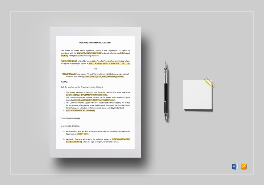 Month to Month Rental Agreement Template in Word  Google Docs  Apple     Month to Month Rental Agreement Template