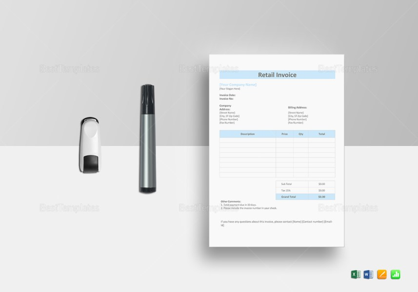 Retail Invoice Template in Word  Excel  Apple Pages  Numbers Retail Invoice Template  Retail Invoice Template