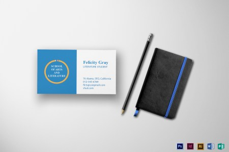 Student Business Card Design Template in PSD  Word  Publisher     Student Business Card Template