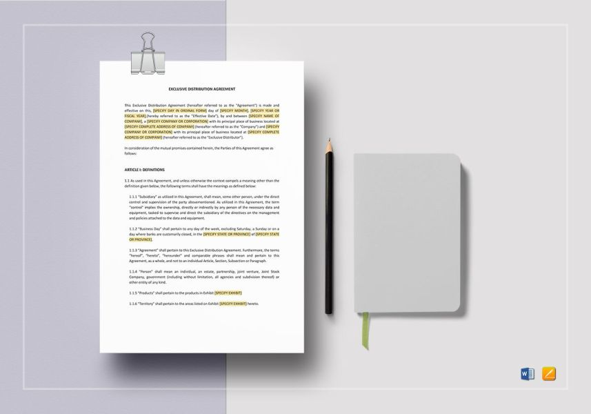 Exclusive Distribution Agreement Template in Word  Apple Pages Exclusive Distribution Agreement Template