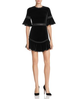 Women s Dresses   Designer Dresses   Gowns   Bloomingdale s Alice and Olivia   Doloris Lace Trim Velvet Dress