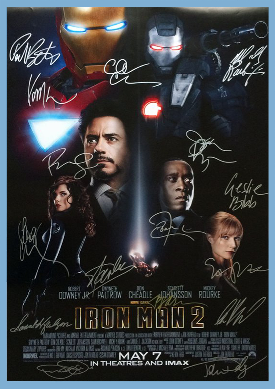 IRON MAN 2 MOVIE Poster Signed by 16 cast with COA ...