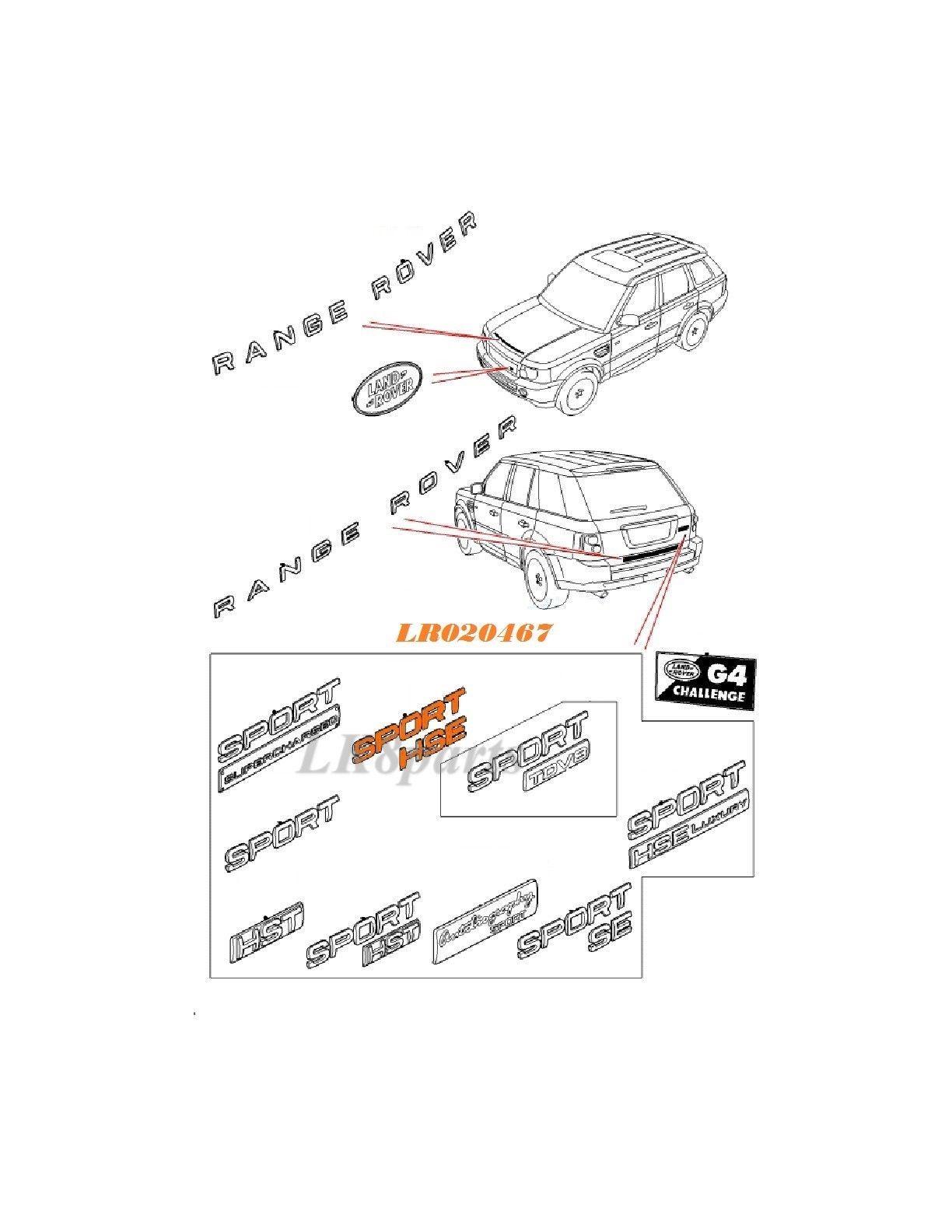 Land rover range sport hse emblem decal plate badge lr020467 new