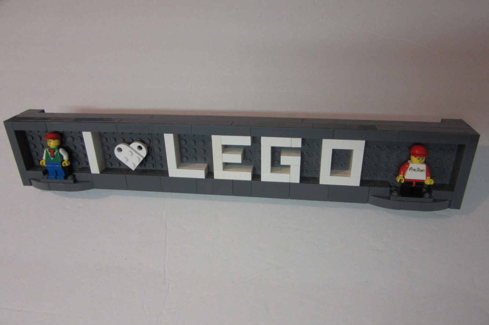 LEGO Custom  I Love Lego  Name Plate Desk and 50 similar items LEGO Custom  I Love Lego  Name Plate Desk Display Sign Holder w  2 Minifigs