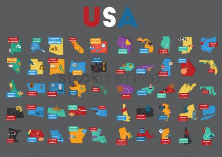 Free Us Map Stock Vectors   StockUnlimited 1562349 Us map   Set of usa state maps