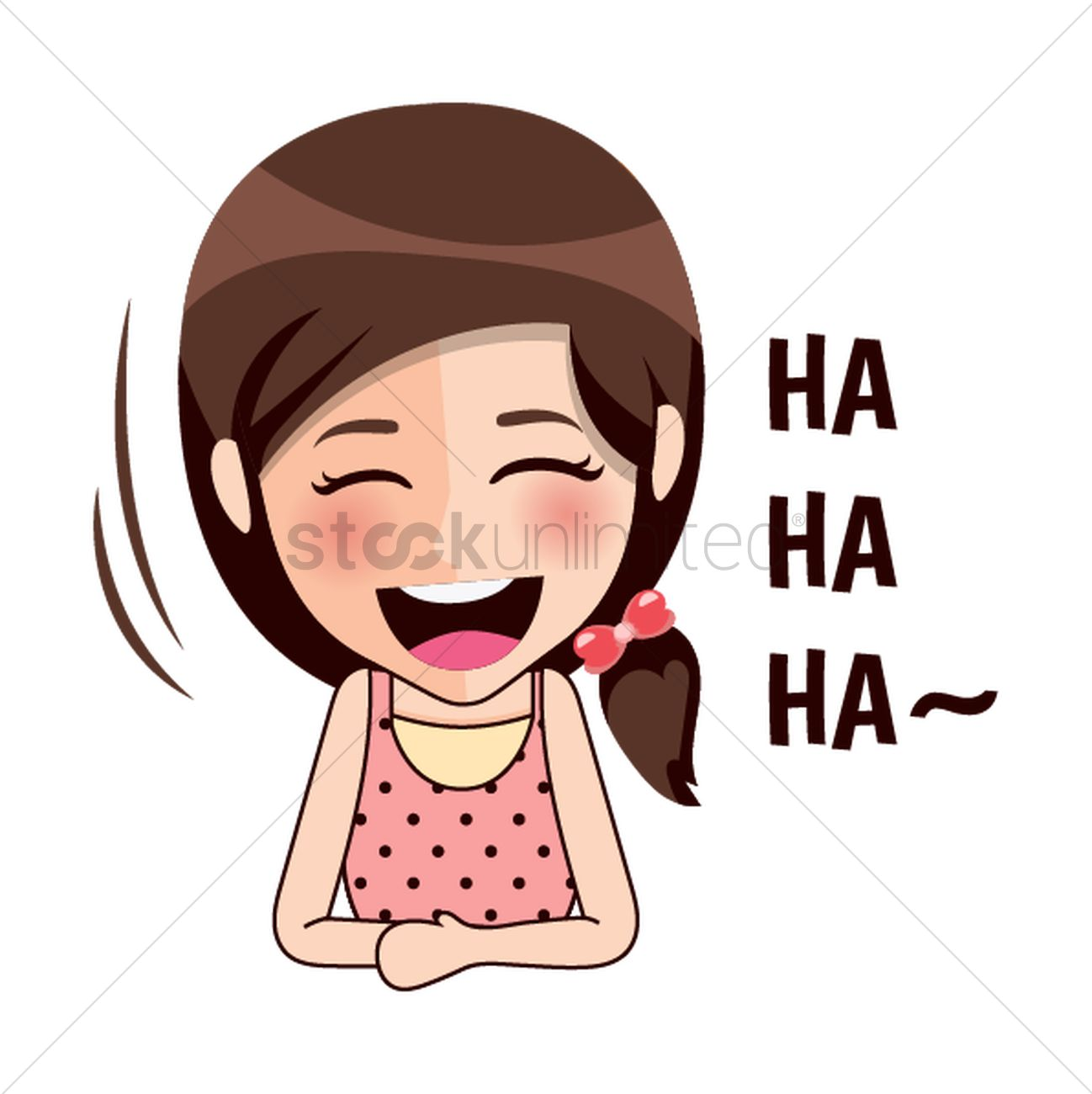 Cartoon girl laughing Vector Image - 1957234 | StockUnlimited