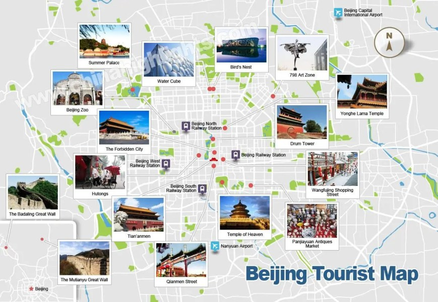 Beijing Map  Map of Beijing s Tourist Attractions and Subway Beijing Subway Map