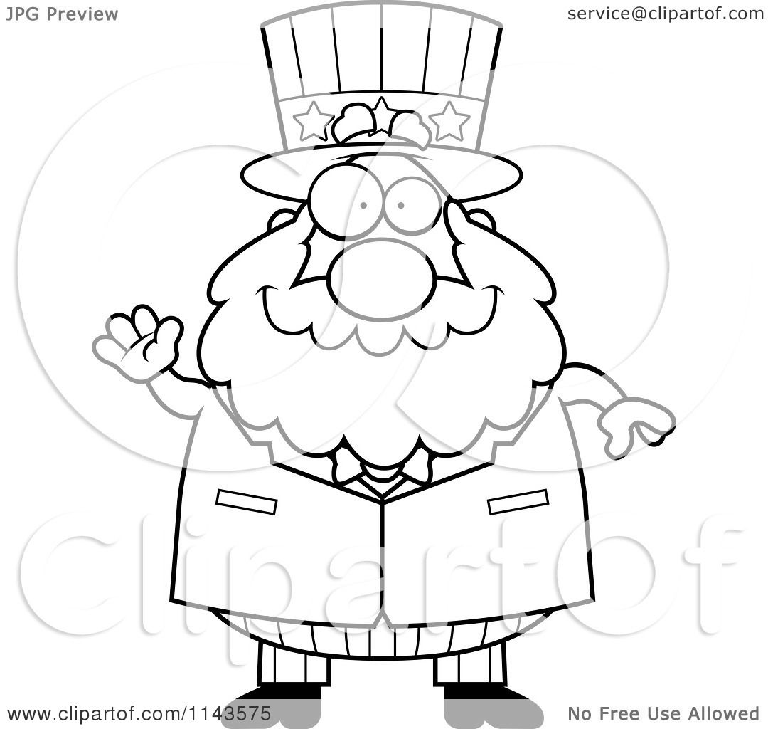 Cartoon Clipart Of A Black And White Chubby Uncle Sam Waving
