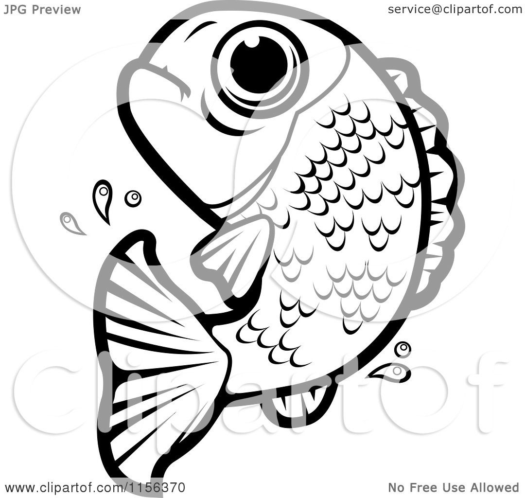 Cartoon Clipart Of A Black And White Leaping Fish Vector