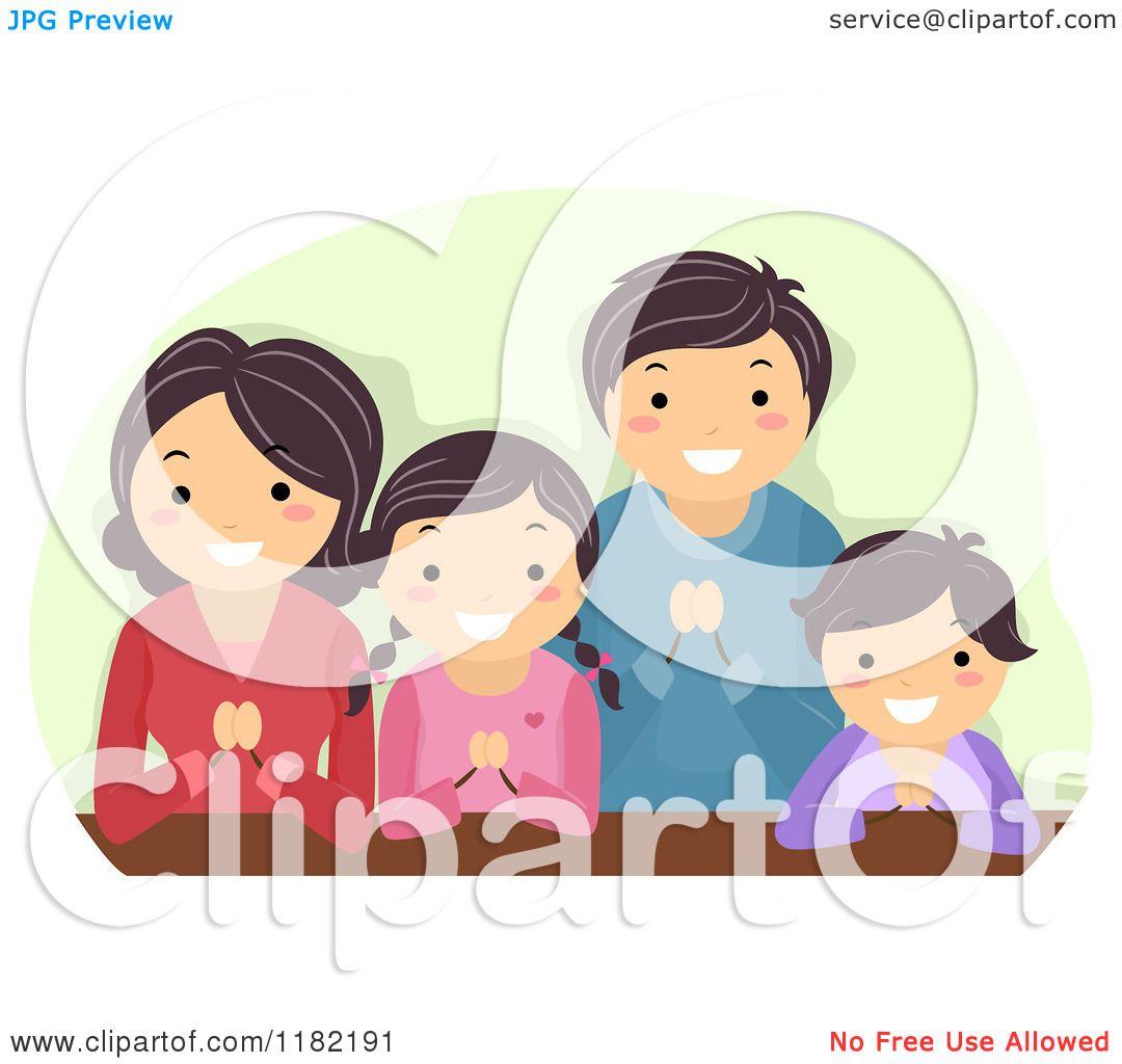 Cartoon of a Happy Religious Asian Family Praying ...