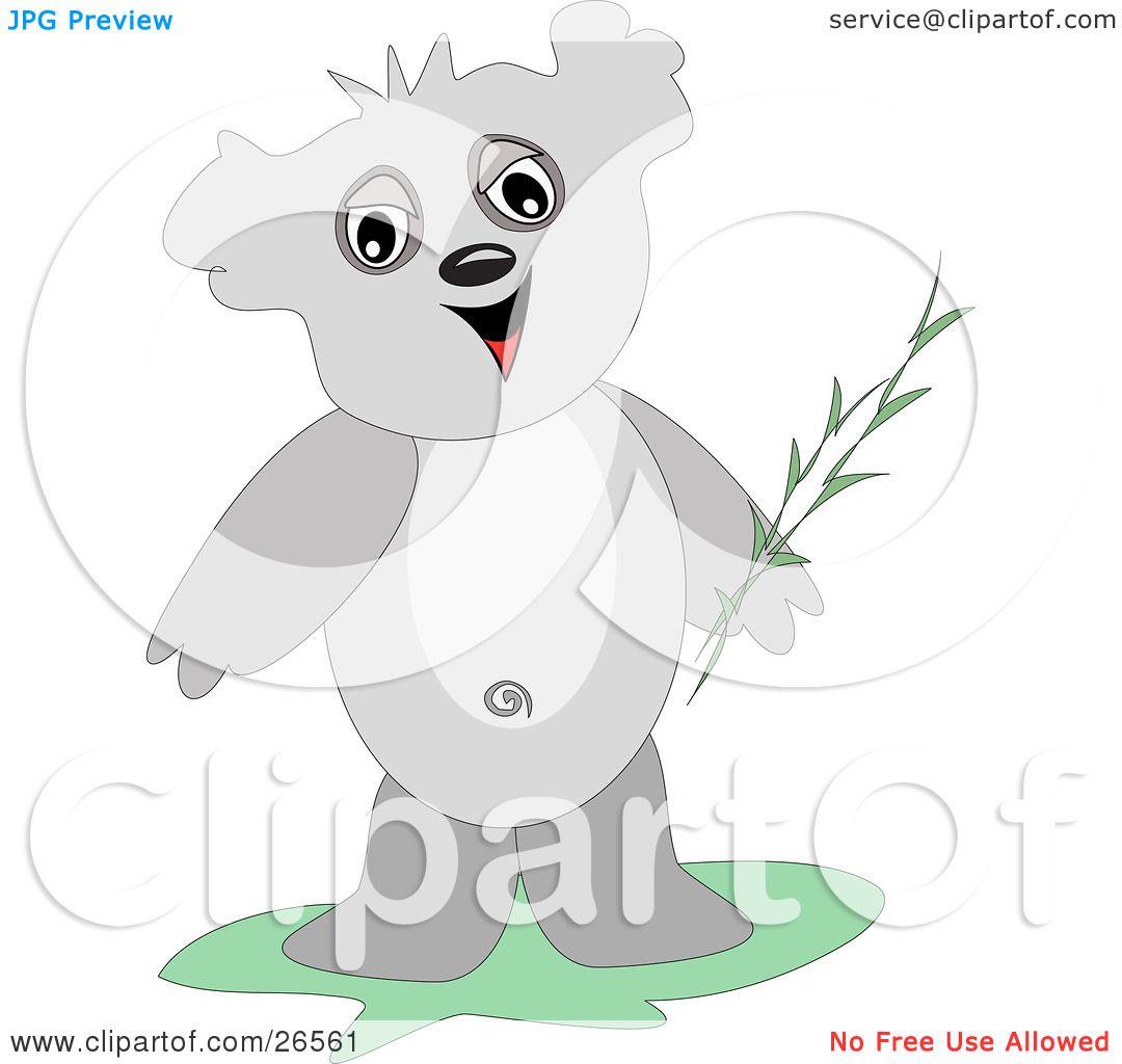Clipart Illustration of a Friendly Gray Koala Bear Holding ...