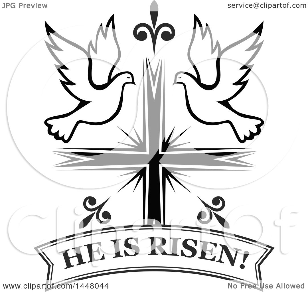 Christian Black White And Heart Cross And Clip Art