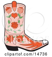 Pink Cowgirl Boot With A Pattern Of Red Roses Clipart Illustration by Andy Nortnik