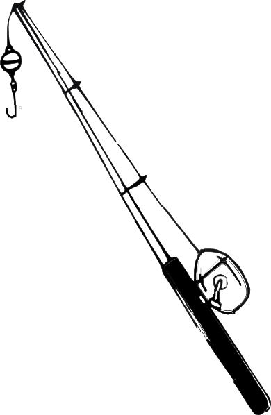 Black And White Fish Fishing Pole