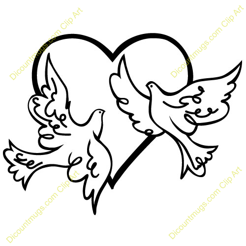 Ribbon And Doves With Rings Clip Art