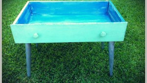 Repurposed Dresser Drawer Into Baubled Patio Table A
