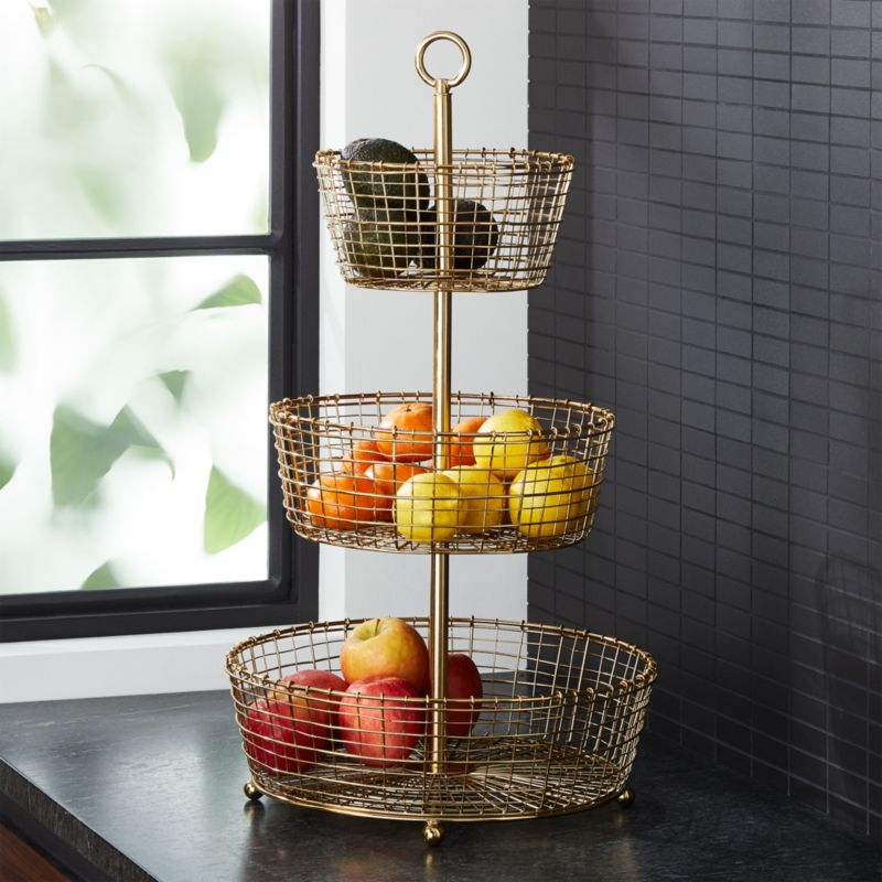 Bendt Gold 3 Tier Wire Fruit Basket Reviews Crate And