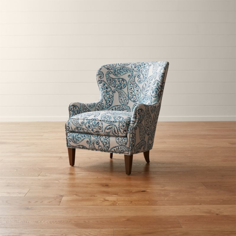 Blue Leather Accent Chair