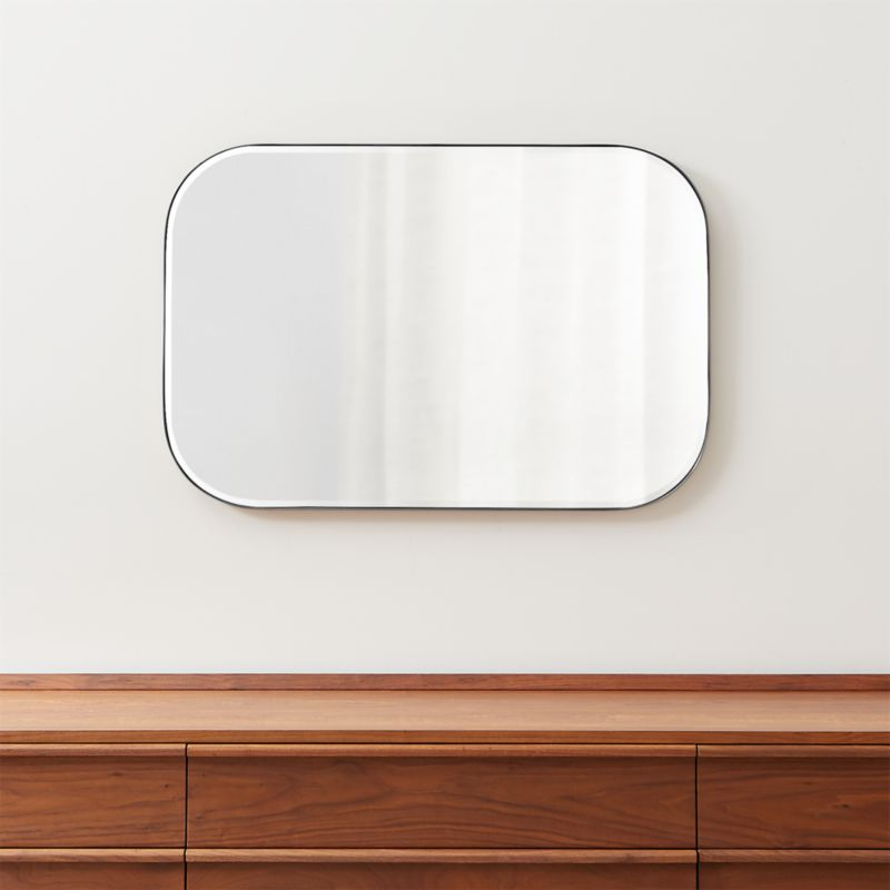 Edge Brushed Nickel Rounded Rectangle Mirror + Reviews ...