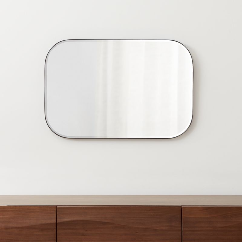Edge Gunmetal Rounded Rectangle Mirror + Reviews | Crate ...
