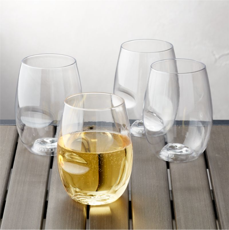 Govino 174 Shatterproof Plastic Stemless Wine Glass Set Of 4 Crate And Barrel